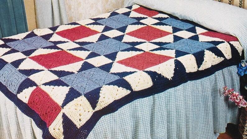 Quilt Design PDF Instant Download Throw Blanket Bedspread Granny Squares Vintage Quilt Afghan Crochet Pattern Digital Pattern