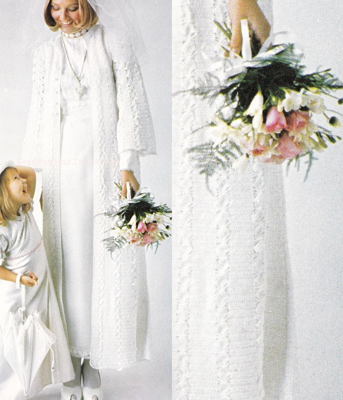 Vintage Wedding Dresses Etsy: Crochet Pattern Vintage Wedding Dress Cover Bridal Coat