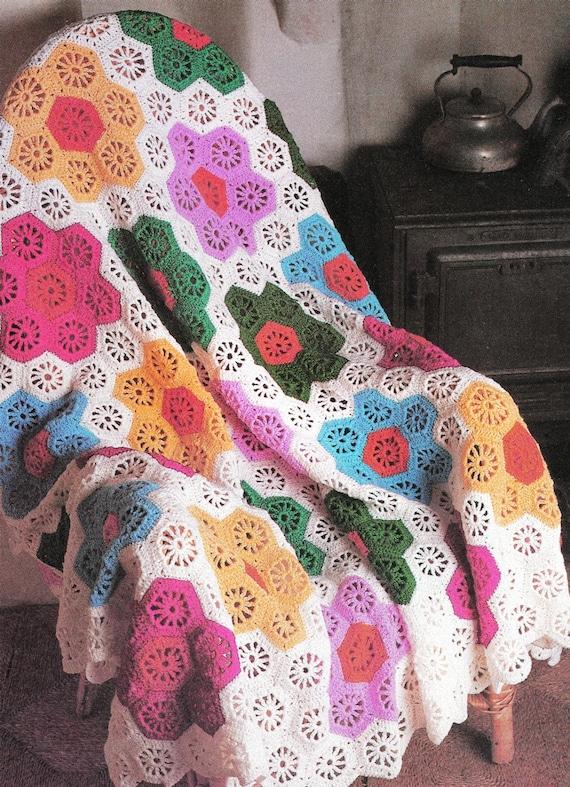 Lacy Crochet Flower Afghan Pattern Granny Blanket Pdf Instant