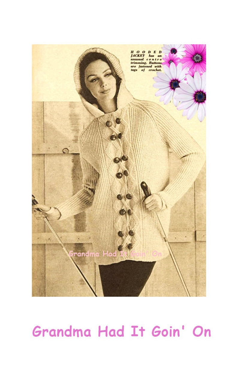 92db4eeb1 Hooded Sweater Knitting PATTERN Vintage 70 s Sweater