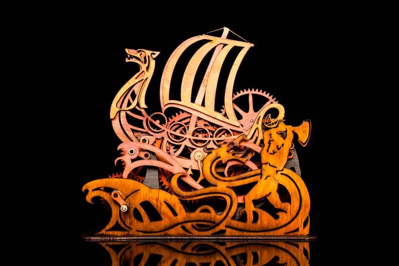 Mechanical Wind Up Viking Ship Kinetic Sculpture Toy Hand Crank Automata Gift Idea Norse Longboat Laser Cut Wood Clock Gear Cogs Art Nouveau