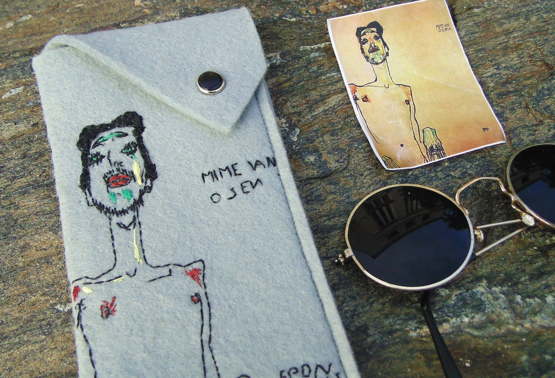 Vegan Women's Glasses case Egon Schiele sunglasses