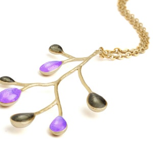 denim blue necklace pendant silver purple necklace small silver necklace violet necklace  blue enamel necklace enamel jewelry modern jewelry