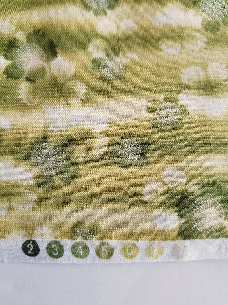 Quilting fabric Asian print Robert Kauffman Zen Garden D7697 olive green floral print half yard cut destash fabric remnant remnant