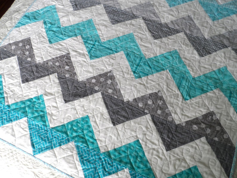 Modern Baby Quilt Aqua and Moss Plaid unbleached cotton unisex blue stars geometric toddler bedding gender neutral baby blanket