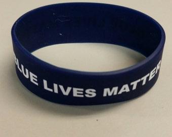 """Blue Lives Matter rubber bracelet 3/4"""""""