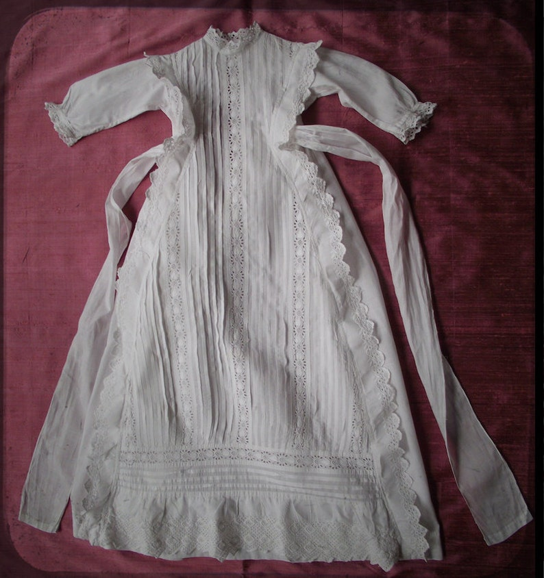 30cab21beed9 Victorian Christening Gown Embroidered Lace Fabulous Antique