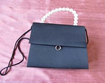 Vintage Cute Handbag from France Satin Pearls Elegant for a Wedding Invitation Theater Evening
