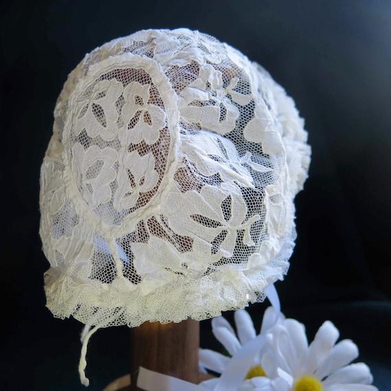 Antique French Kid Bonnet-Christening Bonnet-White