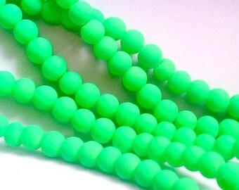 50 neon green glass beads, 6mm