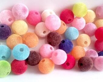 set of 20 beads flocked velvet, multicolored 14mm acrylic