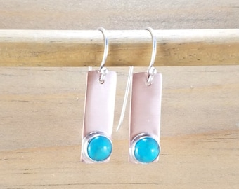 Copper Turquoise Earrings, Mixed Metal Blue Turquoise Jewelry, Minimalist Geometric Copper Bar Stick Earrings, Turquoise Dangles