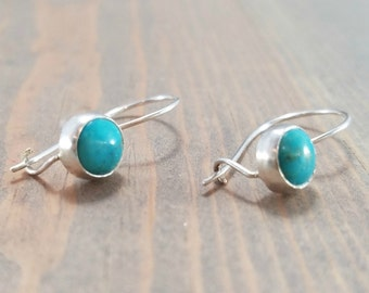 Dainty turquoise earrings, sterling silver kidney earwire, small blue turquoise jewelry, 6mm round stone, december birthstone jewelry