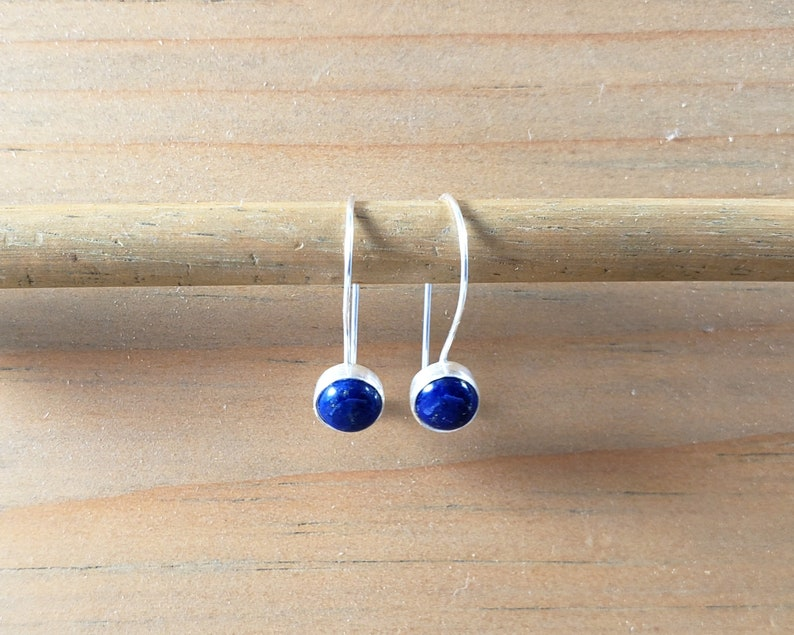 Small Blue Lapis Earrings Comfortable Secure Modest Blue Gemstone Everyday Closed Earrings Sterling Silver Kidney Wire Locking Hook Latch