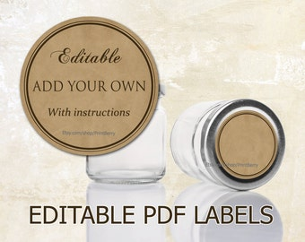 graphic regarding Mason Jar Printable Labels titled Mason jar labels Etsy