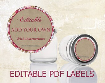 editable labels craft paper tags labels for mason jars etsy