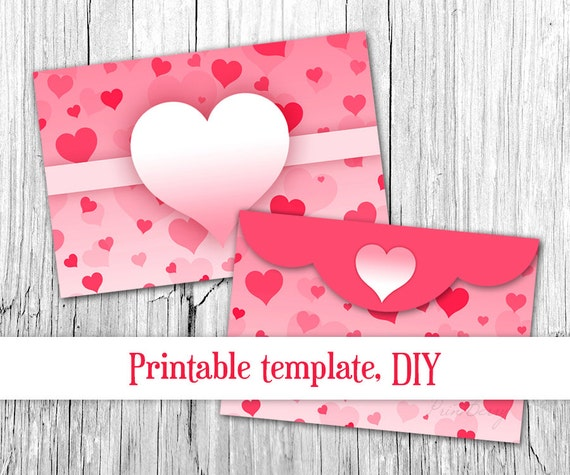 4X6 Envelope Template | Pink Heart Envelope Valentine Envelope Template 4x6 Envelopes Etsy