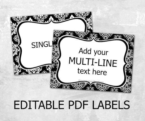 editable damask labels editable labels for mason jars label etsy