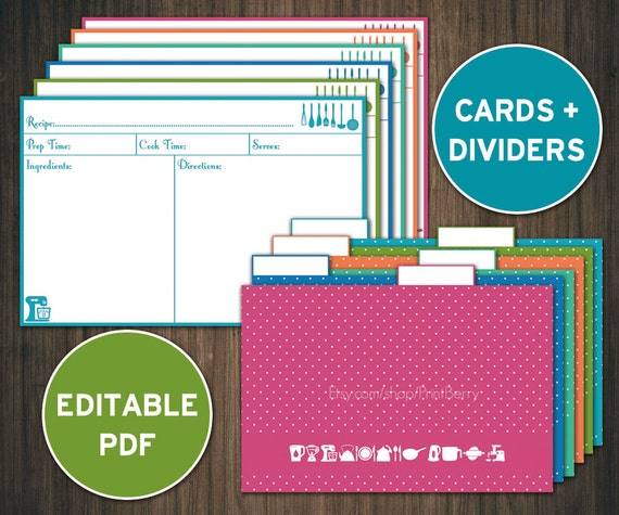 Editable recipe cards divider 4x6 Recipe cards printable recipe ...
