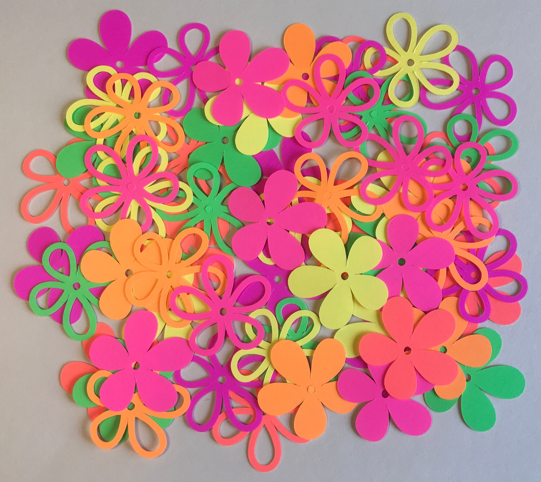 60 17 Inch Flowers Neon Colors Cricut Die Cuts Paper Cut Outs Etsy