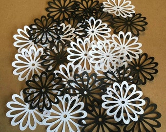 25 2 inch Flowers Black and White Cricut Die Cuts