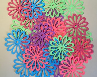 25 2 inch Flowers Punchy Florals Colored Cricut Die Cuts