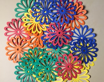 25 2 inch Flowers Primary Colored Cricut Die Cuts