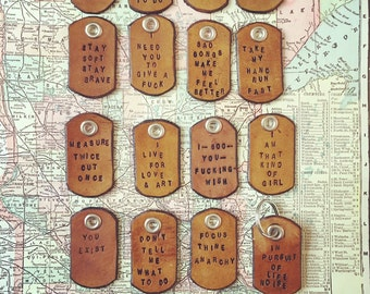 Hand Stamped Leather Dog Tag