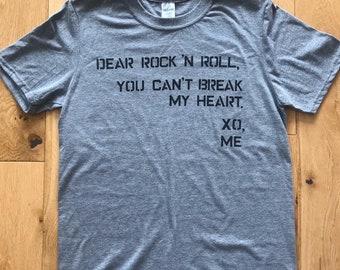 Dear Rock N Roll Heather Grey UK Tour Tshirt