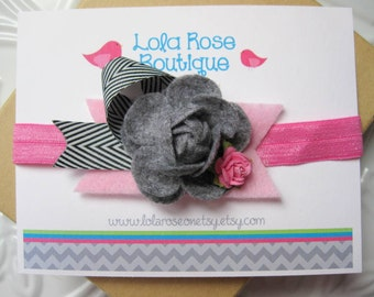 Infant Headband, Newborn Headband, Felt Flower Headband, Infant Bow, Flower Bow Headband, Baby Headband