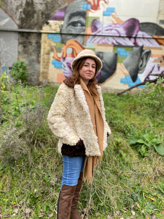 Vintage Lambswool Sheepskin Beige and Brown Contra