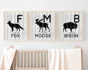 Rustic Nursery Art PRINTABLES - North American Woodland Animals - Canadian Wildlife - Set of 3 - Grey and Black - Moose - Fox - Bison