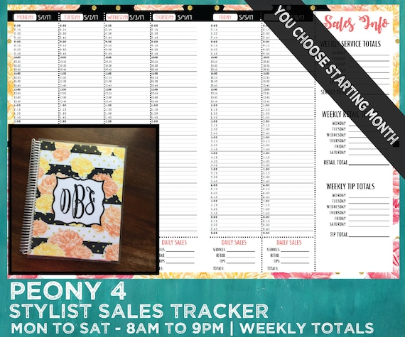 sales tracker stylist book you choose starting month etsy