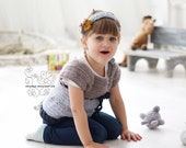 Crochet girl toddler vest knit tunic wool sweater in pale blue gray