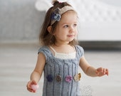 Blue hand knit tunic vest with colorful flowers for little girls