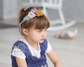 Crochet charmful flowerly girl headband set in pastel colours