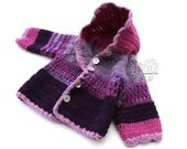 Adorable hand crochet knit baby girl sweater hoodie jacket magenta pink shade