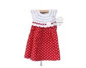 Pretty hand crochet white and red polka dot toddler girl dress