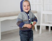 Chunky hand crochet knit baby boy sweater hoodie jacket blue brown shade