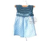 Pretty hand crochet blue and white polka dot toddler girl dress