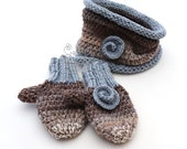 Chunky knit crochet baby gloves mittens & infinity scarf in blue brown shades