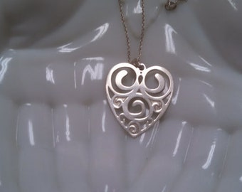 RESERVED - SOLD to C - Sterling Silver Etched Heart Necklace