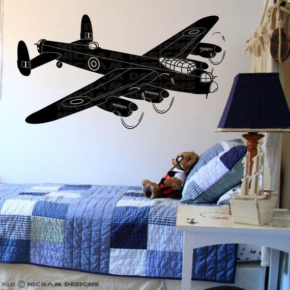 LANCASTER BOMBER plane vinyl wall art QUOTE sticker bedroom aeroplane war army