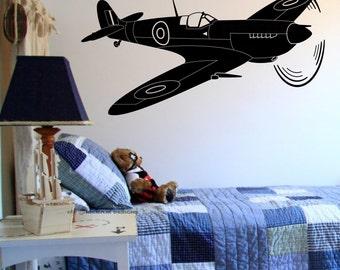 Supermarine Spitfire Fighter Aircraft Wall Art Vinyl Sticker RAF War Plane Decal