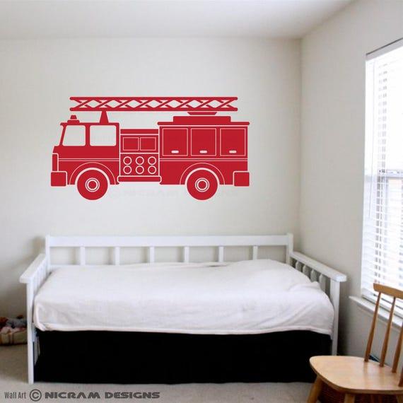 Fire Truck Engine Wall Art Kids Room Vinyl Firefighter Sticker | Etsy