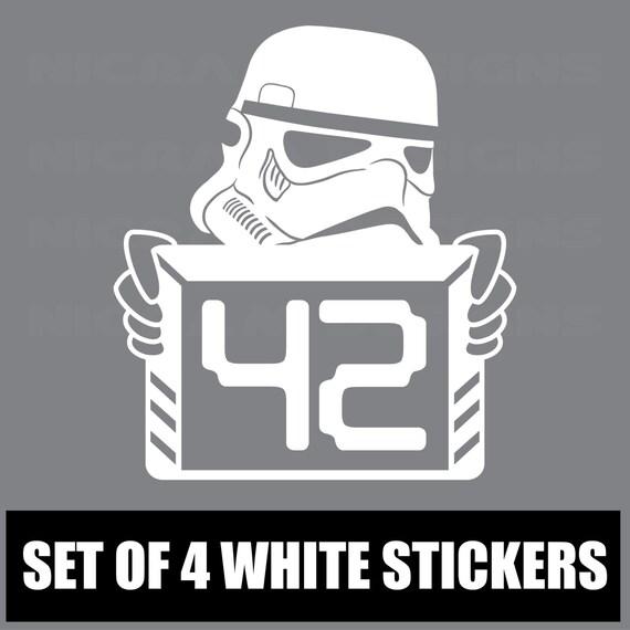 Set of 4 White Wheelie Grey Bin Vinyl Stickers Street Address House Number S5