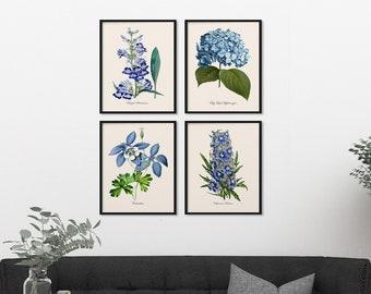 Blue Flowers Botanical Print Set, Botanical Four Print Set, Home Decor, Four Blue Botanicals, Art Reproduction, Flowers 4 Art Print Set m011