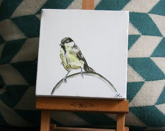 Great Tit Bird Painting on Canvas by Imogen Man