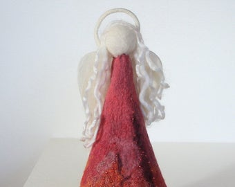 Hand felted pink red orange wool angel embellished with yarns and beads