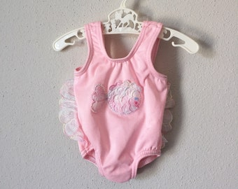 Vintage 80s Infant Swim Suit 1980s Baby Pink Rainbow Angel Fish One Piece Bathing Suit Spring Summer 0 3 6 9 Months
